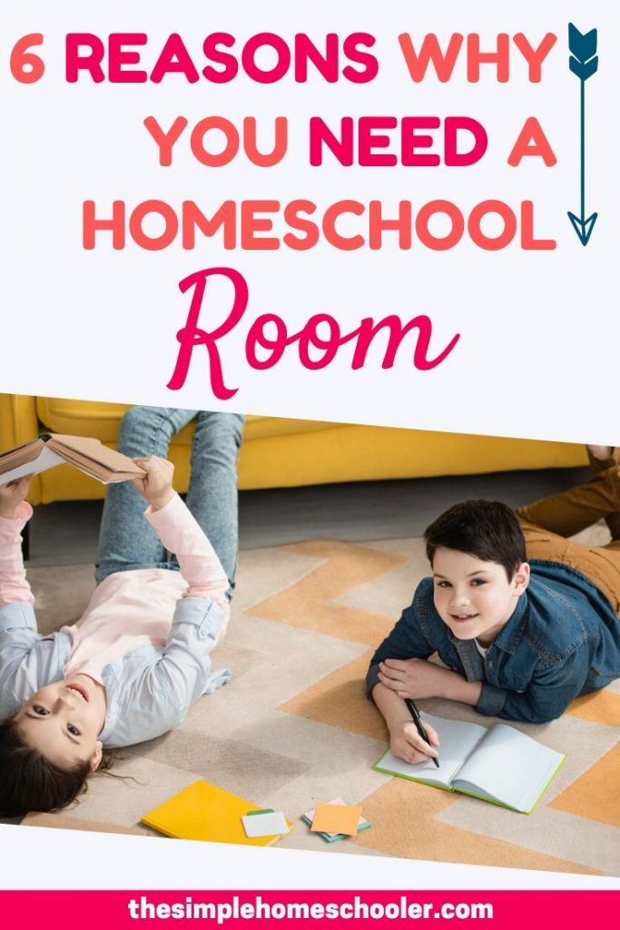 Trust me, you really do need a homeschool room!  It will do wonders for your homeschool, even if you have a tiny space (like me!) to work with. I have 6 reasons that will absolutely convince you that a homeschool spaceit is crucial for organization, efficiency, and to keep your year on track!