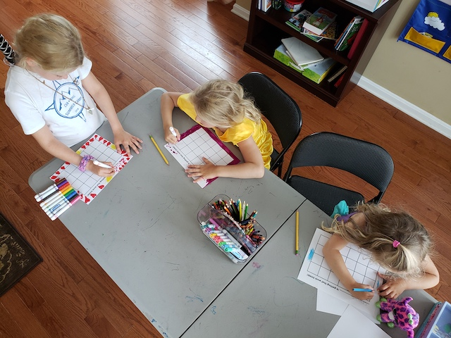 homeschool kids coloring their motivation charts
