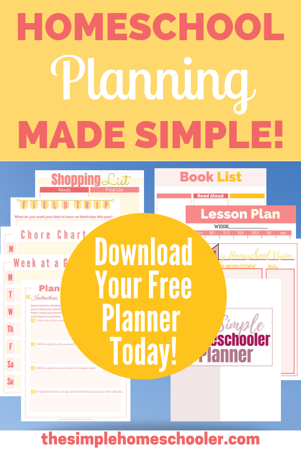 Are you a mom looking for a free printable homeschool planner? Check out this simple, practical planner! It is packed with everything you'll need, plus a ton of extras to get your year started with awesome!