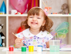 homeschool preschool girl painting
