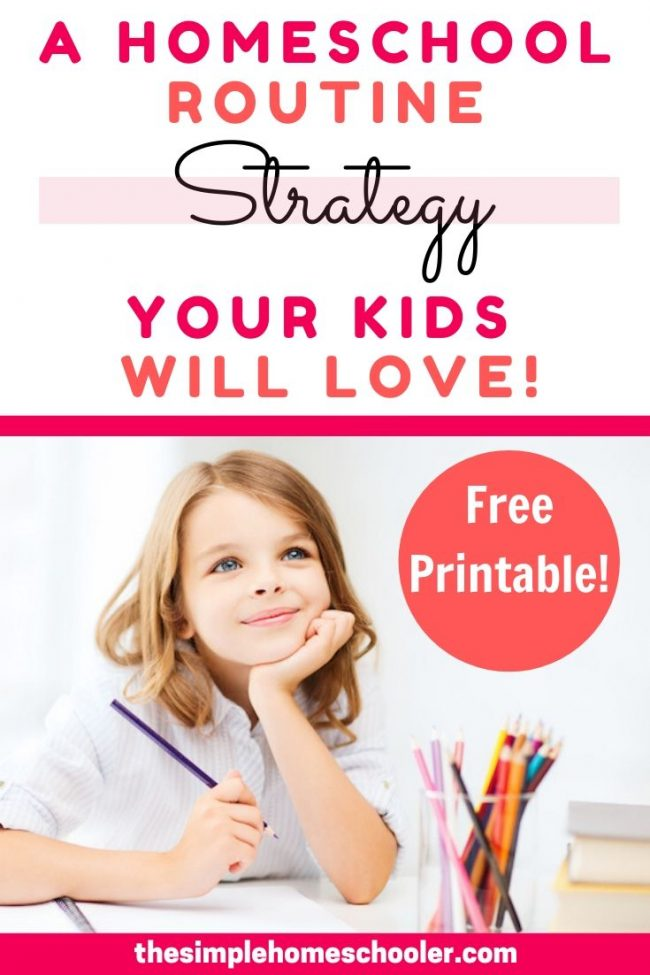 Tired of hearing 'Are we done yet?!' during your homeschool day? This simple and flexible homeschool routine is the key to stop the whining and kickstart your kids' productivity! It will give you a daily schedule that is just right for your unique kids. I have been using this routine method for over 3 years in my homeschool and it works - for all my kids! There is even a free printable with so you can get going today!