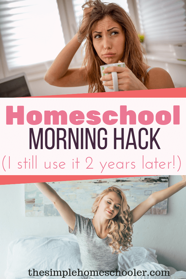 Interested in a homeschool hack that will help streamline your morning? You need to read this! Check out this simple tip has made my mornings oh so much easier. It's a tip I recommend to all my homeschool friends - beginners or seasoned. Check it out! #homeschoolmom #homeschoolhacks #homeschooltips #homeschoolhelp #homeschoolmorning