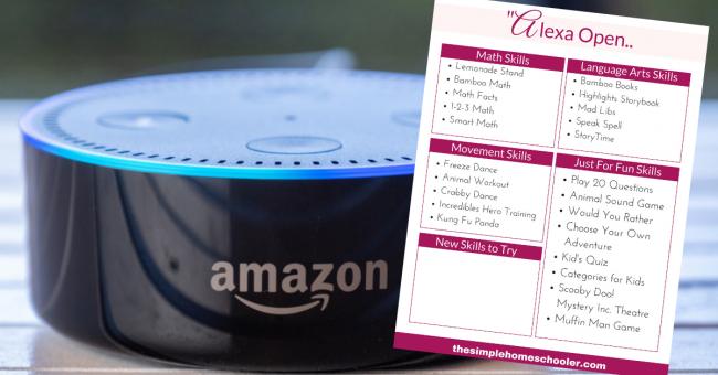 Amazon Alexa with free printable for homeschool Alexa Skills