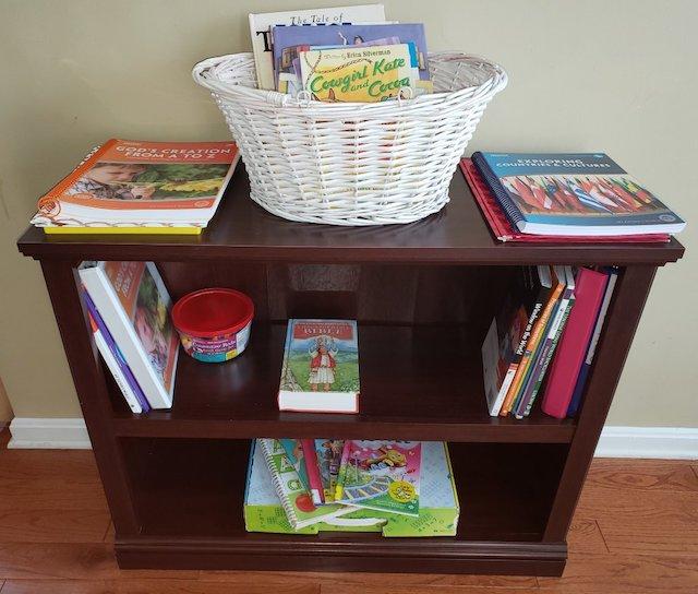 Homeschool curriculum organized in bookcase
