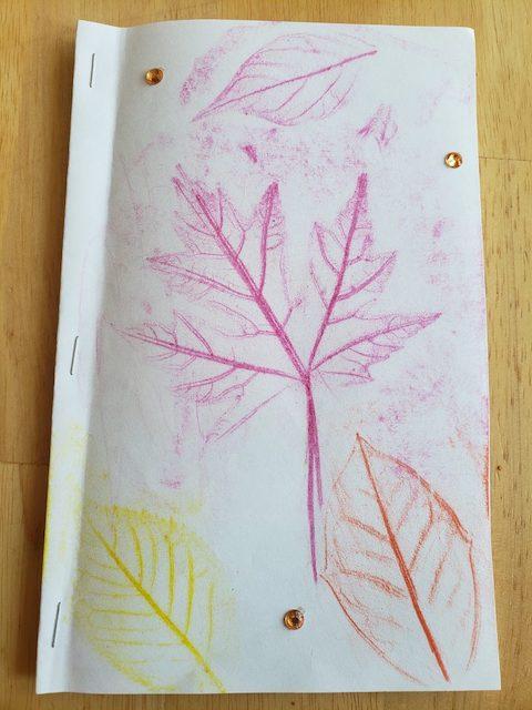 Fall Leaf craft book with leaf rubs