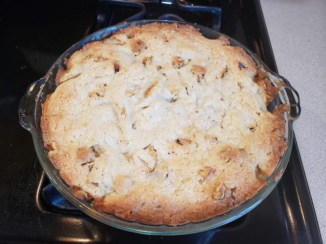 Finished apple pie out of the oven for apple activity
