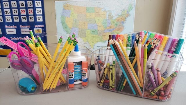 School Supply Organizers - Homeschool Room Essential