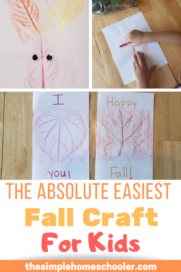 This super easy and fun fall craft is a staple in our house every year. My kids all love to take autumn leaves and make their own art, books, and even cute cards! You won't believe how simple and fun it is for kids of all ages!