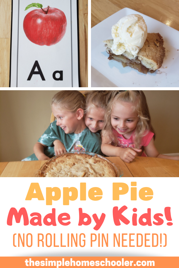 Looking for some fun kindergarten apple activities to do with your kid? This super easy apple pie is our absolute favorite for all things letter of the week, apple theme week, and fall fun!