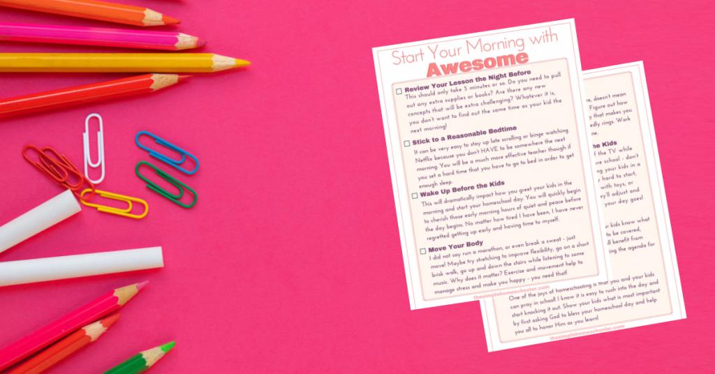 Homeschool morning tips checklist