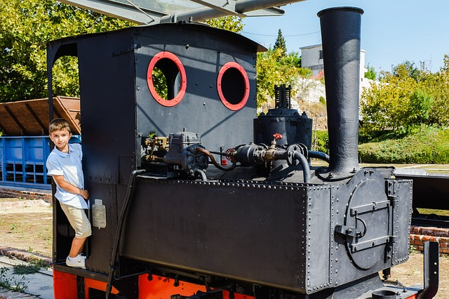 Homeschool boy on a steam engine