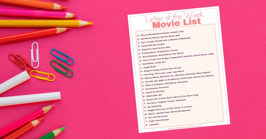 Letter of the Week Movie List Printable