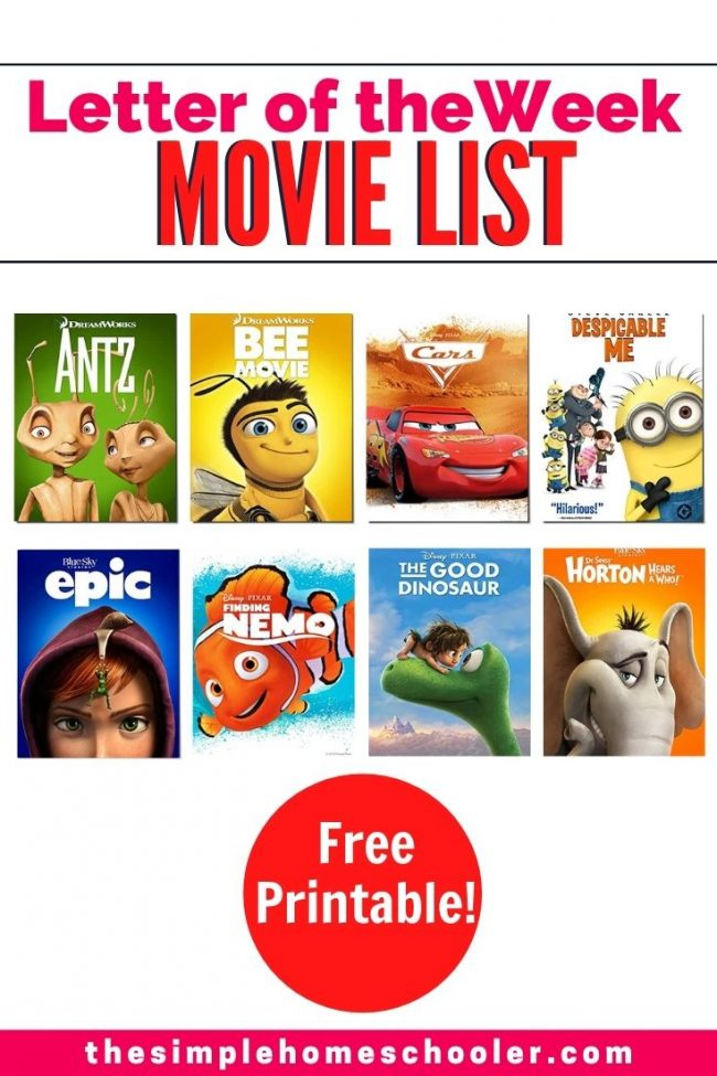 Need some fun ideas to freshen up your Letter of the Week activities? This movie list is sure to spice up things and get your preschooler, pre-k, or kindergartener engaged and excited to learn their letters! Plus there is a free printable to make this letter of the week activity that much easier.