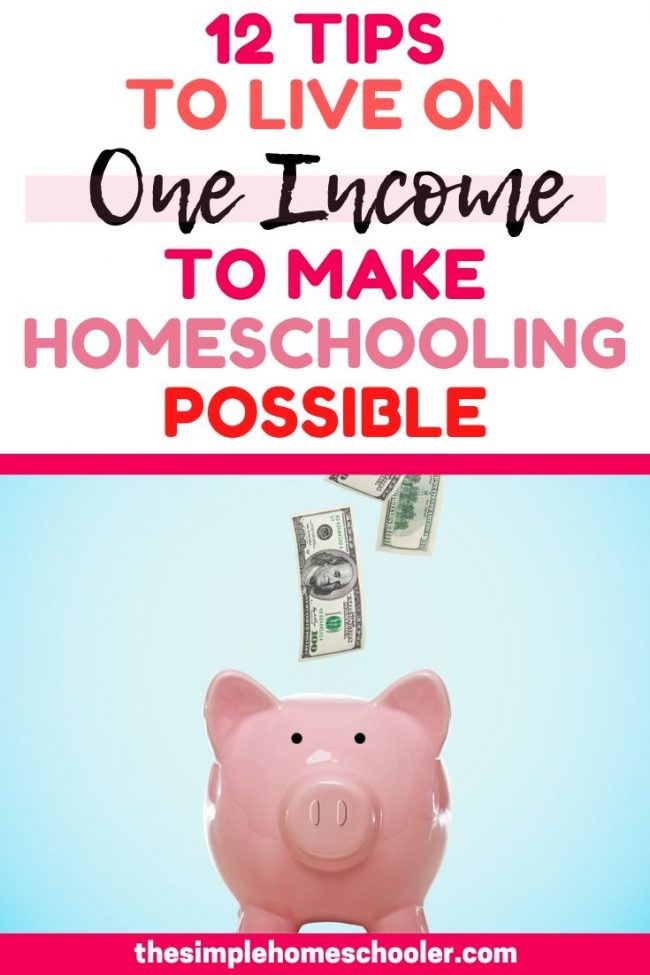 Considering homeschooling, but terrified of going to one income? It is possible! This post will show you 12 tips we use to survive and thrive on one income so we can invest in homeschooling our three kids! Homeschooling on a budget is possible and so worth it!