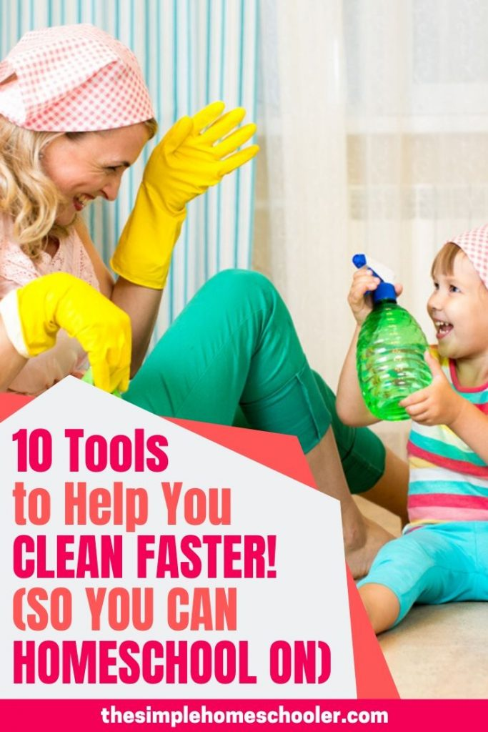 Are you struggling with finding a balance with homeschooling and housekeeping? It is difficult! Homeschooling can have an unpredictable schedule at times, so cleaning house can easily become neglected. Check out the 10 tools I use to make the house cleaning chores quicker and easier!