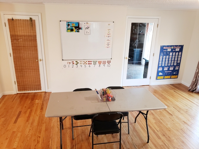 Homeschool Classroom with large shared table instead of desks