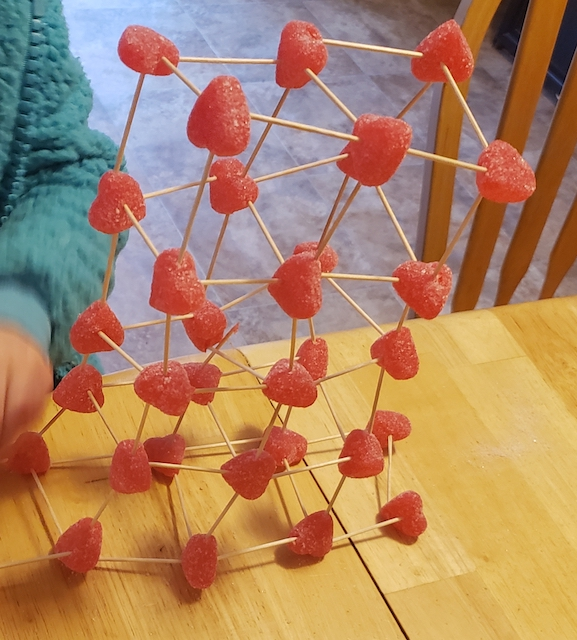 Valentine's Day STEM Project with gummies and toothpicks