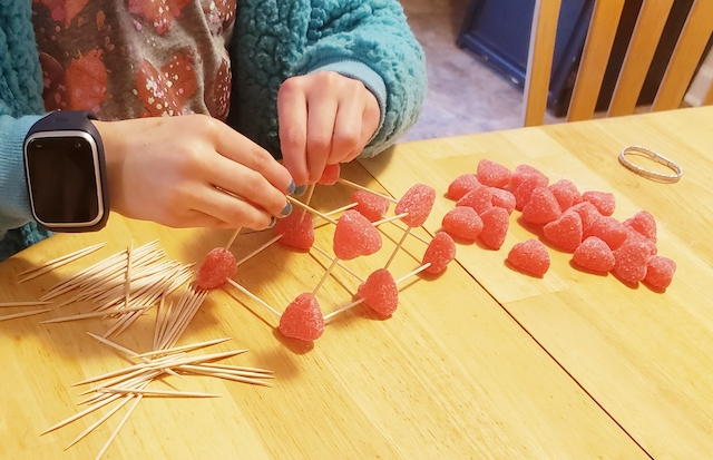 Homeschool kid starting Valentine's Day STEM Activity