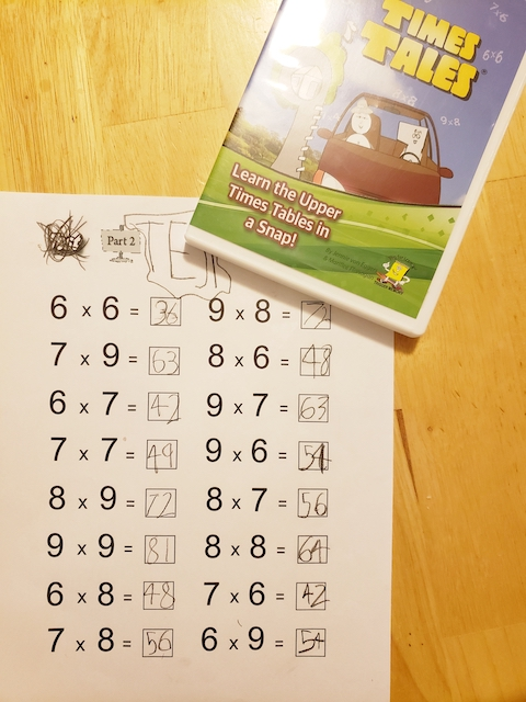 Times Tales test with DVD and all the multiplication facts are correct