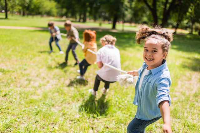 Healthy weight homeschooled kids outside and active
