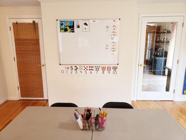 Homeschool classroom table, whiteboard, supplies caddy