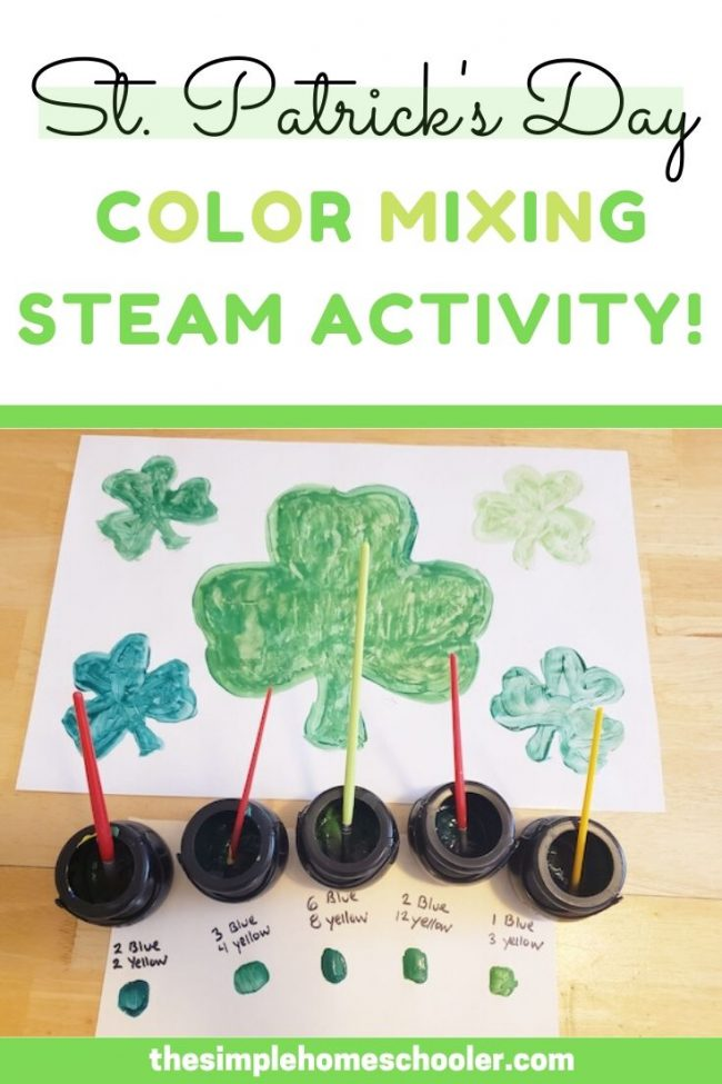 Looking for a St. Patrick's Day STEM activity? Your kids of all ages will love this fun and simple project! There is so much to learn about math, art, and science when you start mixing colors to find the perfect ratio!