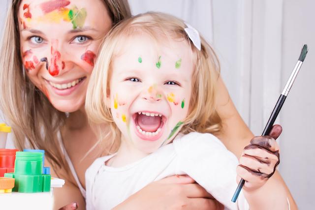 Happy homeschool mom with kid