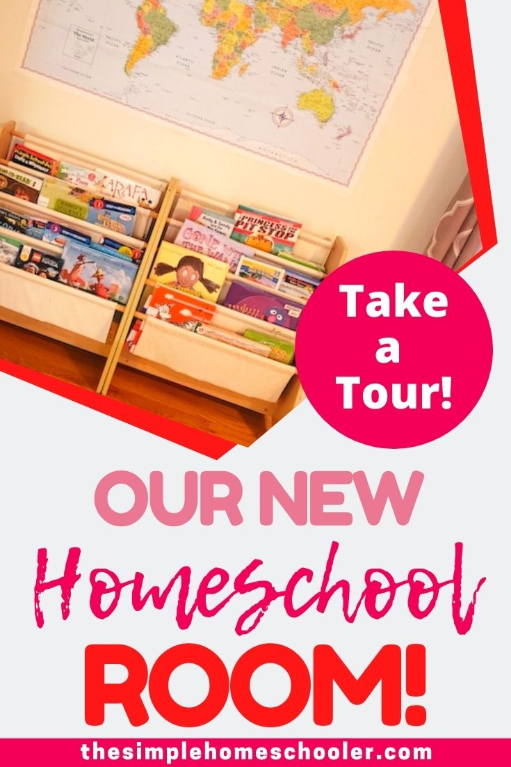 Need some school room ideas? We are loving our new homeschool room and I am excited to share how we set it up after our recent move. We went from a small space to something a little bigger, but we still kept it simple and functional. Enjoy the tour!