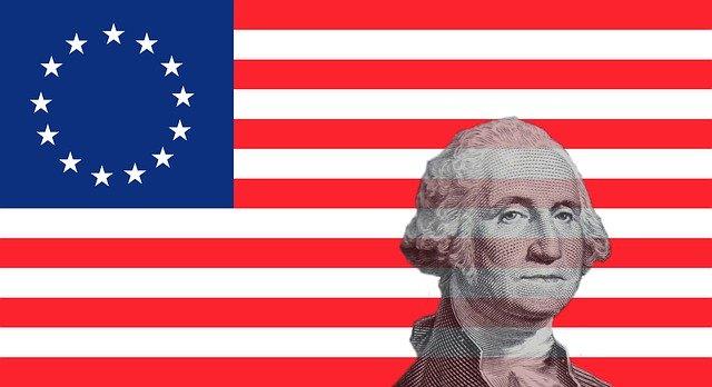 George Washington on an american flag