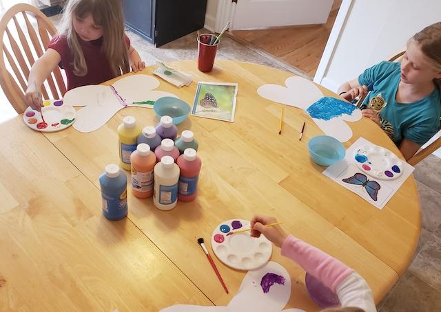 Kids working on their craft