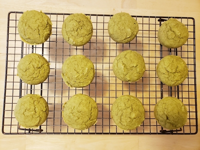 Green Smoothie Muffins on drying rack