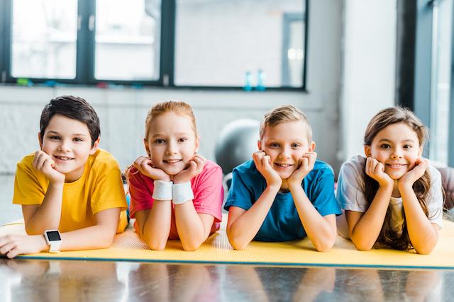 Homeschool kids doing P.E. class