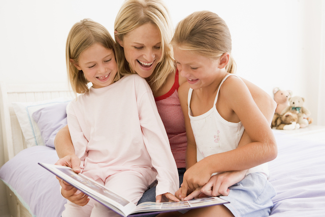 New homeschool mom reading to kids for temporary routine