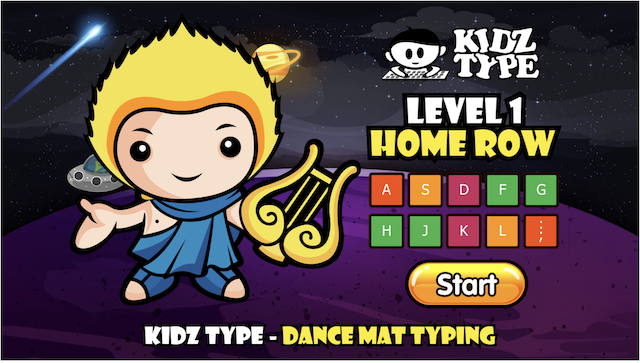 Screen shot of free typing lessons on Kidztype.com