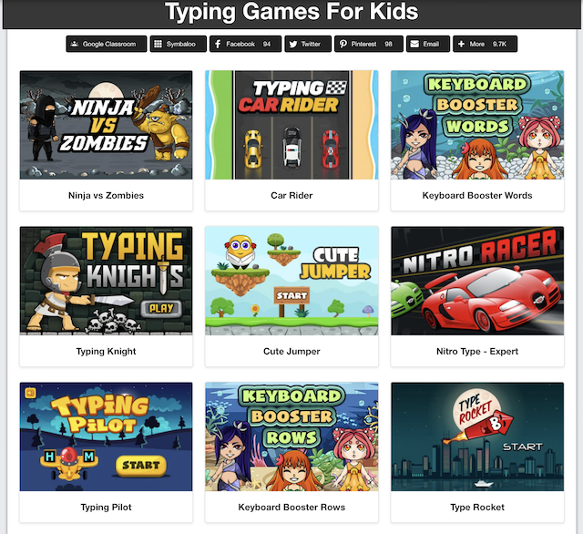 screen shot of Kidztype free typing games for kids