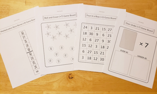 Game boards for Multiplication Facts that Stick