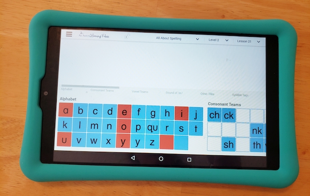 letter tiles app on a tablet