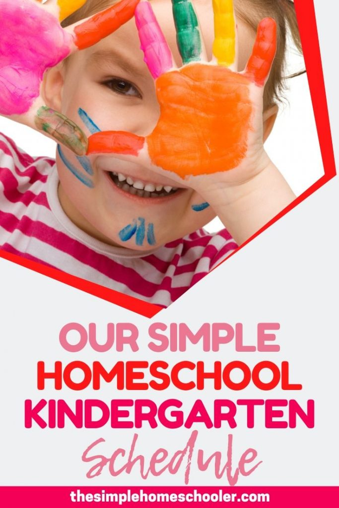 Looking for ideas for a super easy daily homeschool kindergarten schedule? Check out a sample of our flexible, simple schedule! A free printable is included that will keep you and your kids on task, productive, and learning!