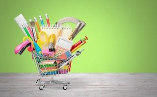 Homeschool supplies in a shopping cart