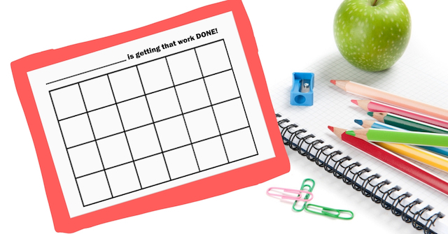 Sticker chart printable for rewards system in homeschooling