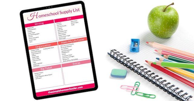 Homeschool Supply List Free Printable