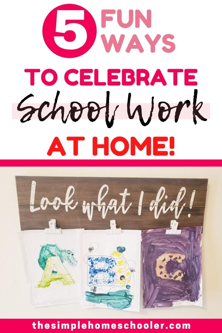 Looking for simple, fun ways to recognize your kid's outstanding schoolwork at home? Check out this 5 easy ways to showcase and highlight your homeschooler's projects, schoolwork, and achievements! It's a great way to motivate and encourage your kids through the homeschool year!