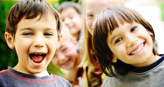 Kindergarten homeschool kid playing outside