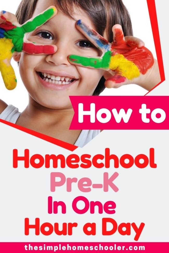 Looking for a PreK Homeschool schedule that works for your kid and your busy schedule? Check out the 2 schedule options you can use to knock out Pre-K in one hour a day! It is the perfect balance of time, energy, core subjects, and fun!