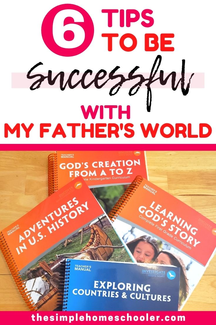 Excited about starting your homeschool with My Father's World Curriculum?! You made a great choice! I have loved using this gentle, fun curriculum for over 3 years! There are a few tips and tricks I've learned along the way that will help you make the very most of your purchase and bless your homeschool year!