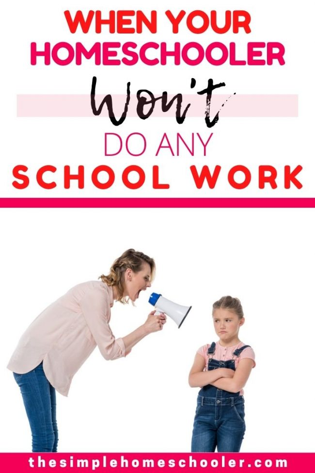 Is your homeschooler refusing to do school work? Are you in a battle of the wills every day and thinking about quitting? You CAN stop fighting and still win the battle! Click to explore the reasons your homeschooler won't do work and exactly what to do to change your child's attitude.