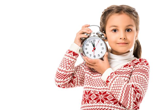 homeschool kid and clock